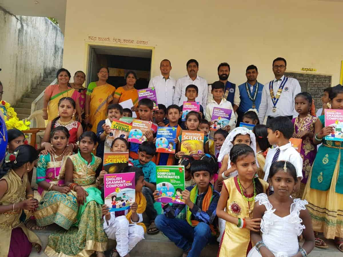 Donation of Library Books & Republic Day Celebration at Gadikoppa School