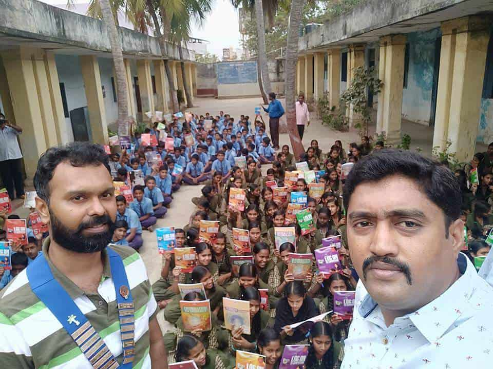 Donation of Library Books at Govt High School Holehonnur